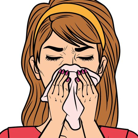 woman with runny nose for covid19 symptom vector illustration design