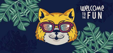 welcome to the fun with tigress using glasses vector illustration design
