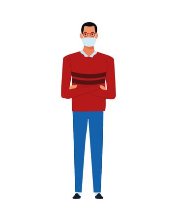man using face mask for covid19 character vector illustration design  イラスト・ベクター素材