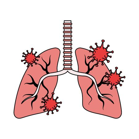 lungs organs with covid19 particles vector illustration design