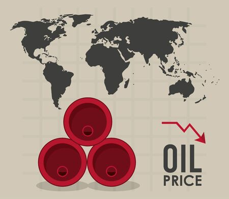oil price infographic with barrels and earth planet vector illustration design