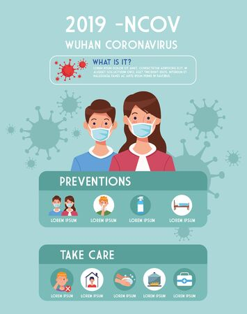 covid19 pandemic flyer with couple using face masks infographics vector illustration design Illustration