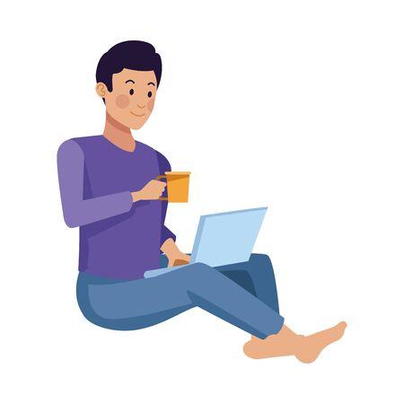 young man using laptop and drink coffee vector illustration design Ilustración de vector
