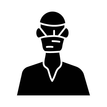 surgeon worker character silhouette style icon vector illustration design