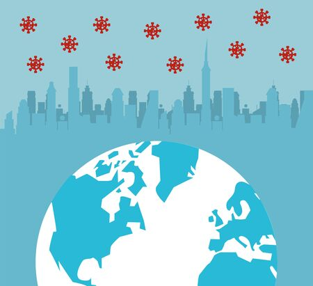 covid19 pandemic particles with earth planet and cityscape vector illustration design