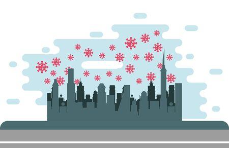 covid19 pandemic particles with cityscape scene vector illustration design