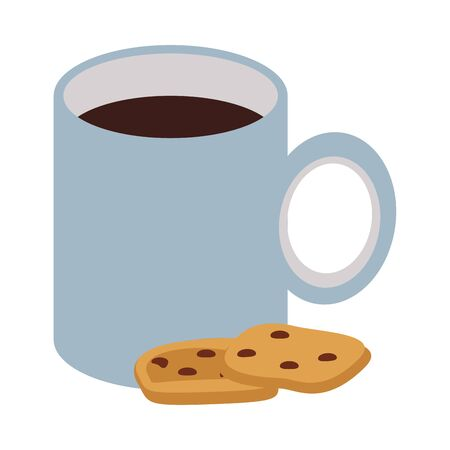coffee cup drink with cookies vector illustration design