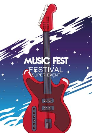 music fest poster with electric guitar vector illustration design Vectores