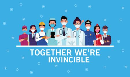 group of workers using face masks and together we are invincible vector illustration design Archivio Fotografico - 145639855