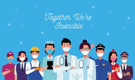 group of workers using face masks and together we are invincible vector illustration design