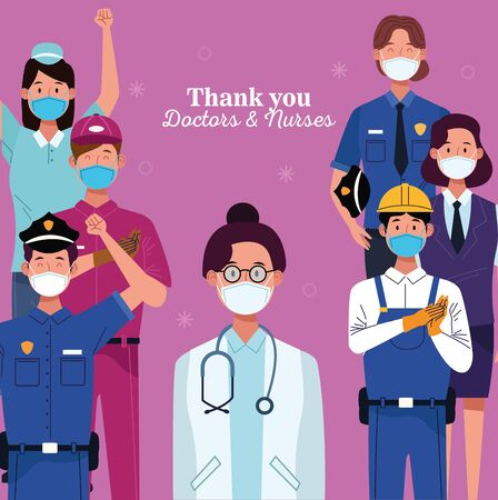 group of workers using face masks with thank you doctors and nurses message vector illustration design