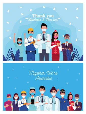 group of workers using face masks and positive messages vector illustration design Vector Illustratie