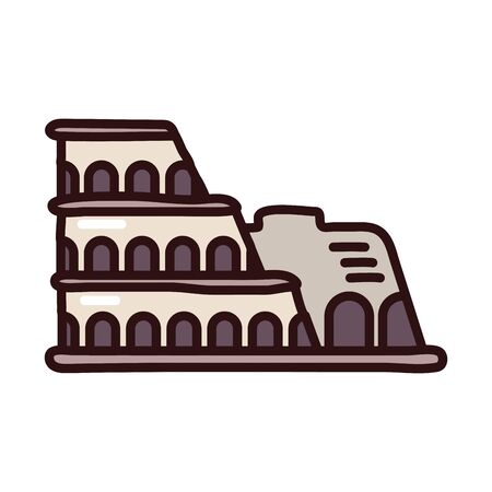 roman coliseum fill style icon vector illustration design