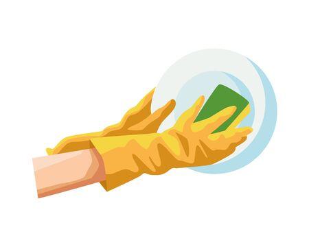 washing utensils with gloves vector illustration design