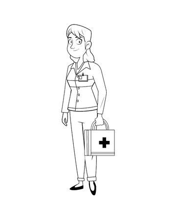 professional female paramedic avatar character vector illustration design