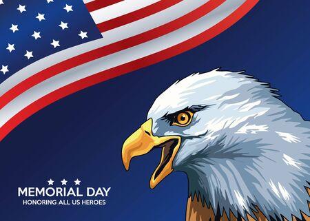 memorial day celebration poster with eagle vector illustration design