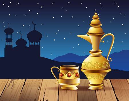 ramadan kareem celebration with lamps and taj mahal vector illustration design
