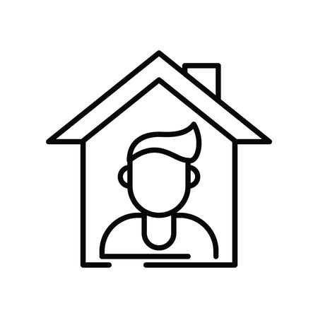 stay at home line style icon vector illustration design