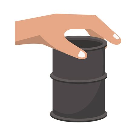 hand lifting oil barrel tank isolated icon vector illustration design