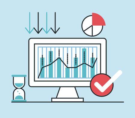 economic recession infographic with desktop vector illustration design
