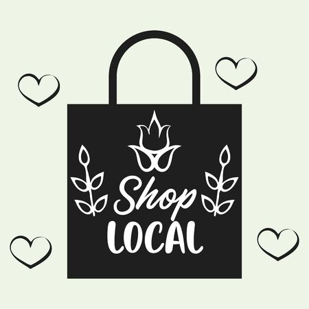 shop local poster with shopping bag vector illustration design