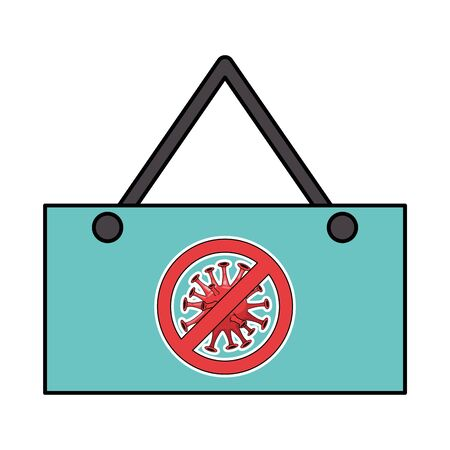 stop covid19 signal in label vector illustration design