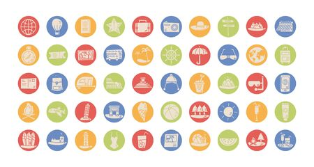 bundle of vacations set icons vector illustration design