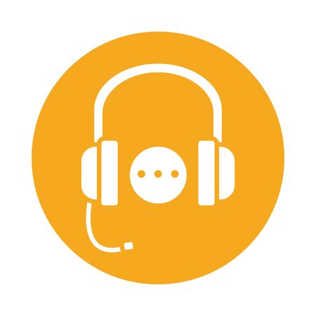 headset communication block style icon vector illustration design