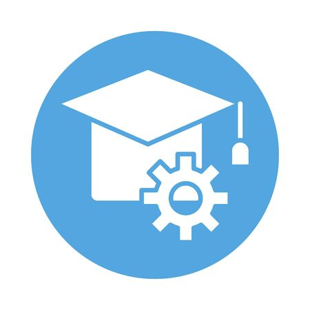 hat graduation with gear block style icon vector illustration design