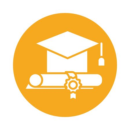 graduation certificate and hat block style icon vector illustration design