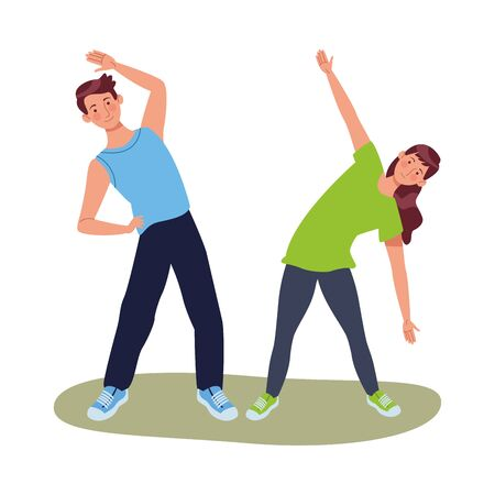 young couple athlete practicing exercise characters vector illustration design