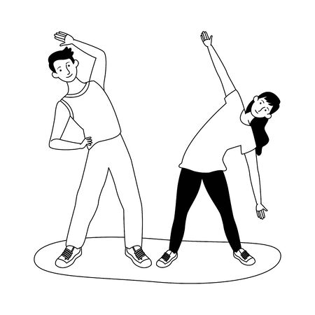 young couple athletes practicing exercise characters vector illustration design