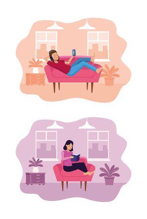 people in quarentine livingroom scene vector illustration design Vecteurs