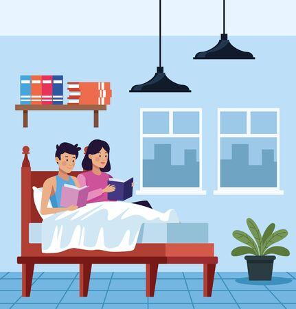 couple in quarentine bedroom scene vector illustration design