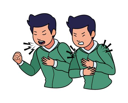 men sick with cough and chest pain covid19 symptom vector illustration design