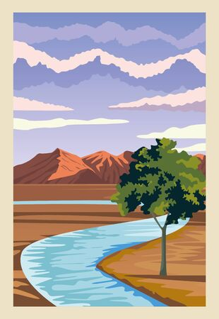 beautiful landscape with river and mountains scene vector illustration design