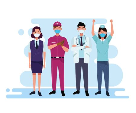 group of workers using face masks vector illustration design
