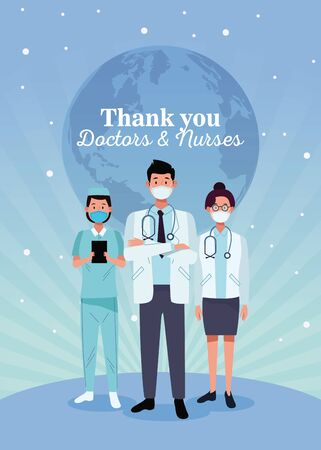 group of doctors staff characters with thak you message vector illustration design