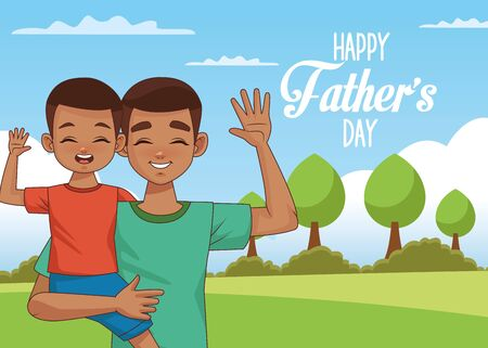 fathers day card with afro dad carrying son in landscape vector illustration design