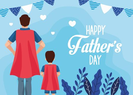 fathers day card with super dad and son characters vector illustration design