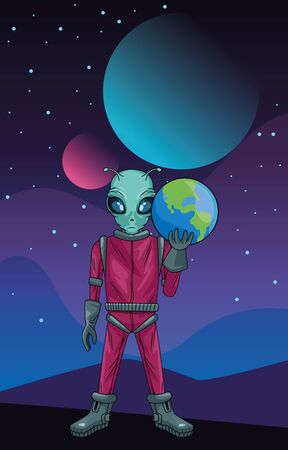 alien lifting earth planet in the space vector illustration design