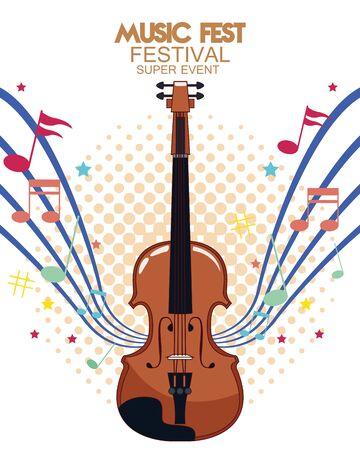 music fest poster with fiddle vector illustration design Çizim
