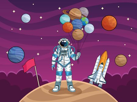 astronaut with rocket and planets in the space vector illustration design Фото со стока - 147300508