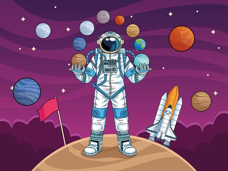astronaut with rocket and planets in the space vector illustration design Фото со стока - 147267270