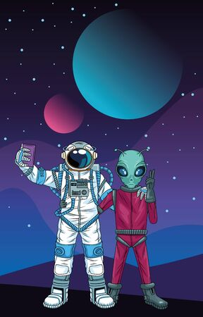 astronaut and alien taking a selfie in the space vector illustration design Фото со стока - 147300553