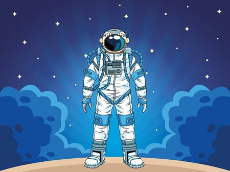 astronaut in the space character vector illustration design