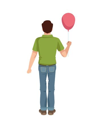 dear father with balloon helium vector illustration design