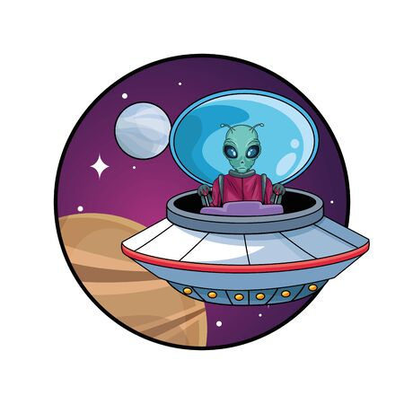 alien driving ufo in the space character vector illustration design Фото со стока - 147303119