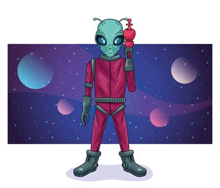 alien with weapon in the space character vector illustration