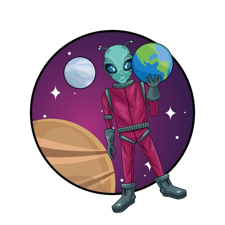 alien lifting earth planet in the space vector illustration design Фото со стока - 147303203